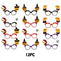 Sanmubo 12 Pcs Pumpkin Glasses Frame for Kids, Creative Personality Children Toy Glasses for Halloween Party Decoration