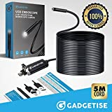 Borescope USB endoscope 2 in 1 inspection camera. 2 Megapixel 720p HD with 6 adjustable LED lights. Waterproof, compatible with android and windows - 5 Meters (16.4 ft)