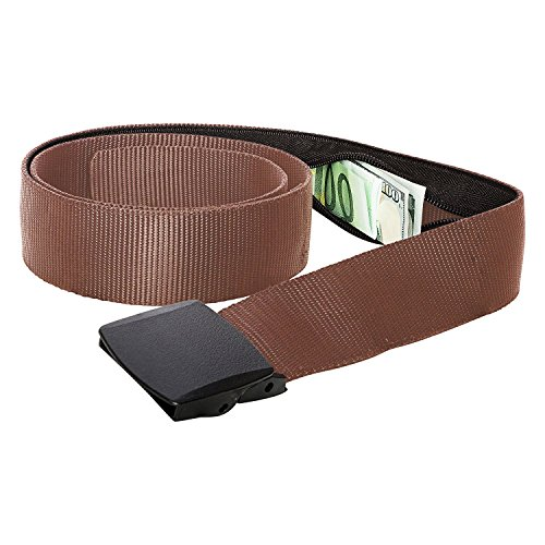 Undercover Nylon Belt - Zero Grid Travel Security Belt - Hidden Money Pouch - Non-Metal Buckle, Brown