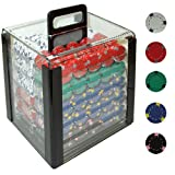 Trademark Poker 1000 Pro Clay Casino Poker Chips In Acrylic Carrier, Clear, 13gm