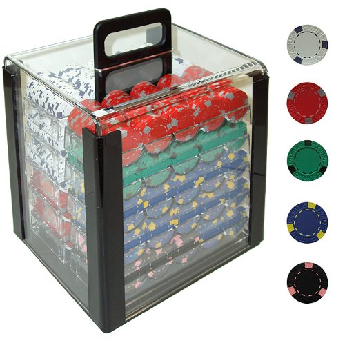 Trademark 1000 13 Gram Pro Clay Casino Poker Chips In Acrylic Carrier (Clear) by Trademark Global