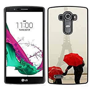 LECELL--Funda protectora / Cubierta / Piel For LG G4 -- Paraguas Arte Blanca Nieve Invierno Rojo --