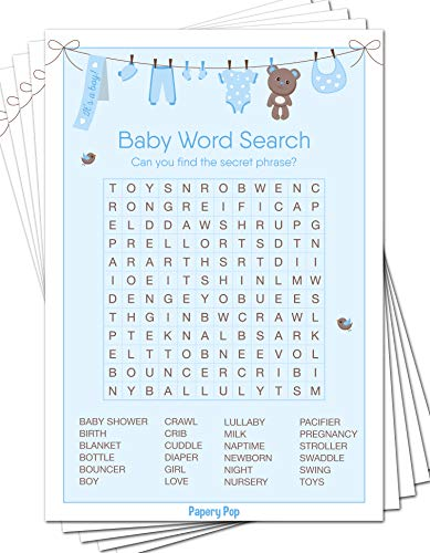 Baby Word Search Game Cards (Pack of 50) - Baby Shower Games Ideas for Boy - Party Activities Supplies -
