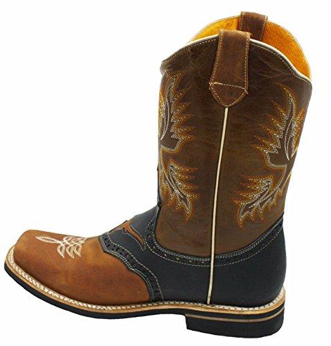 Dona Michi Mannen Echt Leer Vierkante Teen Decarative Shaft Western Cowboylaarzen Bruin Zwart