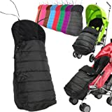 Deluxe 2 In 1 Stroller Pushchair Buggy Footmuff - Black To Fit Maclaren, oBaby, Zeta Vooom, Tippitoes, Hauck, Chicco, Graco Mamas And Papas