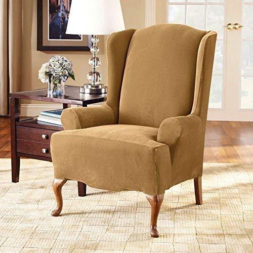 - SureFit Stretch Pique Knit - Wing Chair Slipcover - Antique