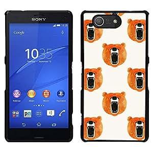 EJOY---Cubierta de la caja de protección para la piel dura ** Sony Xperia Z3 Compact ** --blanco naranja rugido acuarela soportar