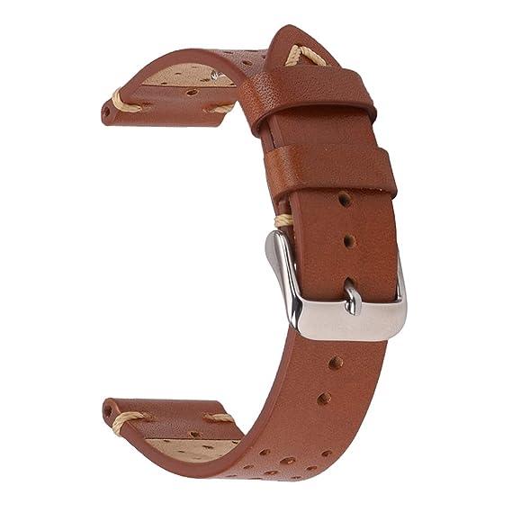 Correas de Reloj de Cuero, Correas de Reloj de Cuero de EACHE Rally Racing Correas de Reloj Perforadas de Cuero de Gamuza Hechas a Mano 18 mm 20 mm 22 ...