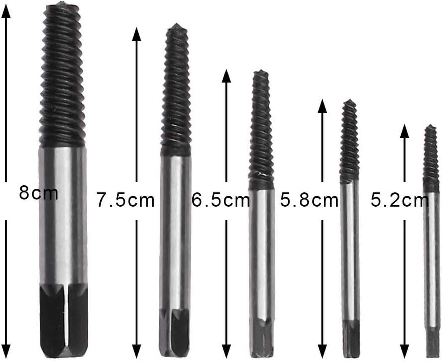 pengxiaomei 9 pcs Damaged Screw Extractor Kit Screw Extractors Drill Bits Tool Set Broken Bolt Stripped Screw Extractors with Any Drill