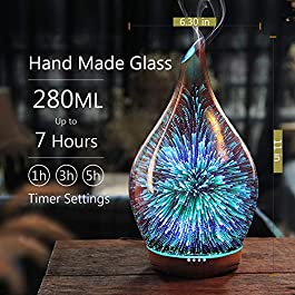 280ml Rose Gold Essential Oil Diffuser 3D Glass Aromatherapy Ultrasonic Humidifier – Auto Shut-Off,Timer Setting, BPA…