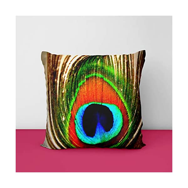 51Ow7qEEe7L Peacock Feather Square Design Printed Cushion Cover