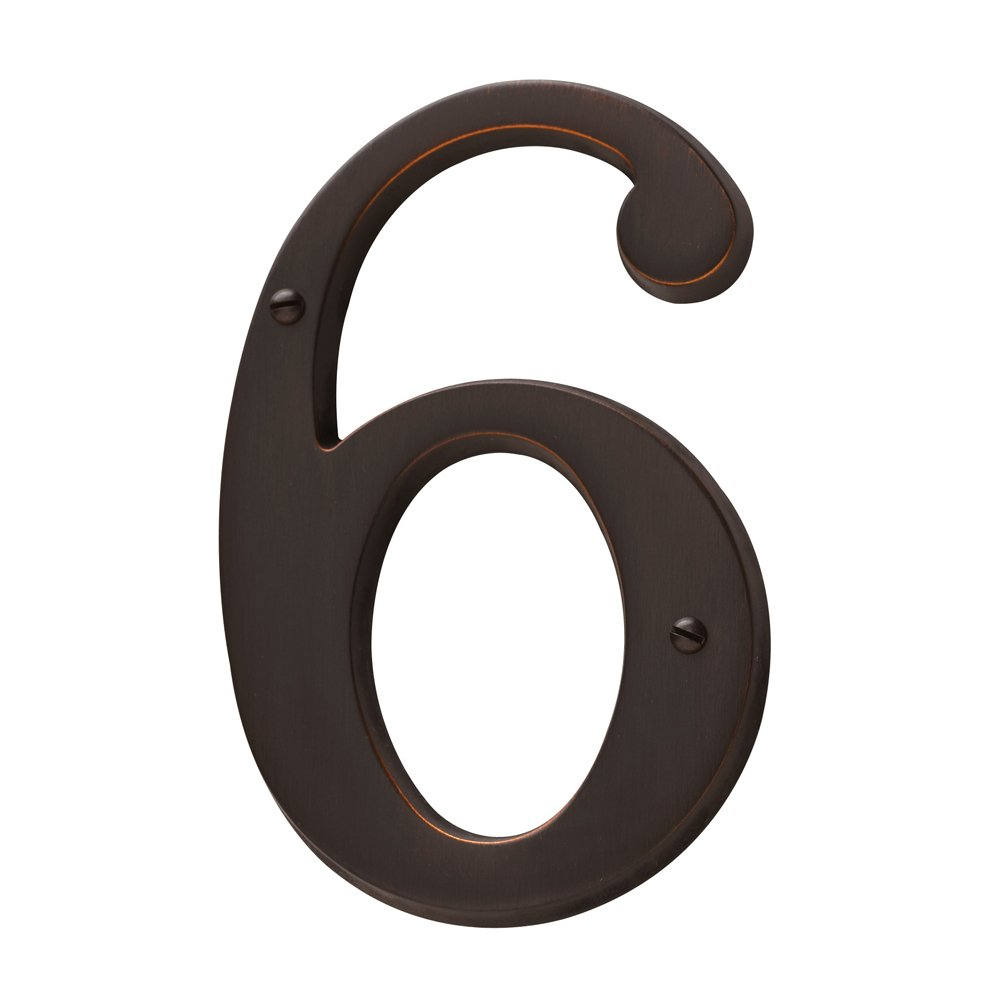 Baldwin Estate 90676.112.CD Solid Brass Traditional House Number Six in Venetian Bronze, 4.75''
