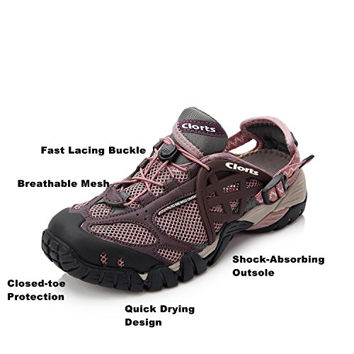 Clorts Damen Mesh Slip On Water Schuhe WT05A Lila