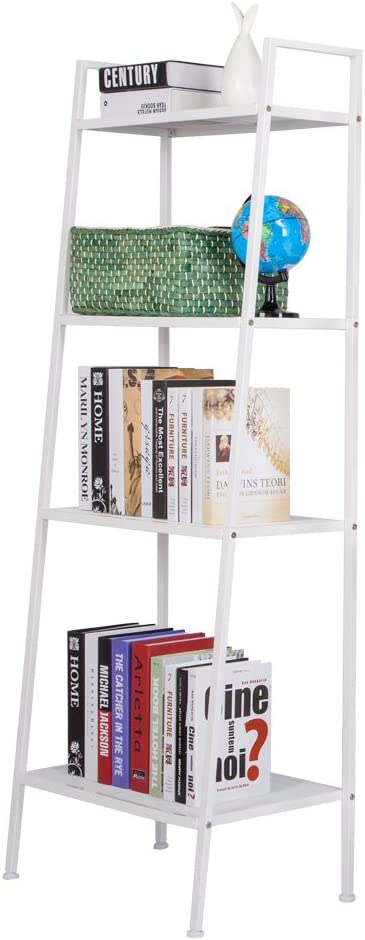 Moobom Ladder Shelf 4 Tier Vintage Bookshelf Bookcase, Metal Frame Leaning Multifunctional Plant Flower Stand Storage Rack Modern Display Shelf for Home Office