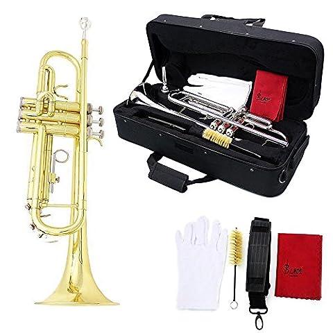 SSJSHOP Brass Gold-Plated Beginner Trumpet