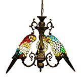Makenier Vintage Tiffany Style Stained Glass Parrot Bird Shade Chandelier Ceiling Pendant Light + Antique Bronze Finish Fixture - Adjustable Chain - for Dining Room - Cafe - Bar