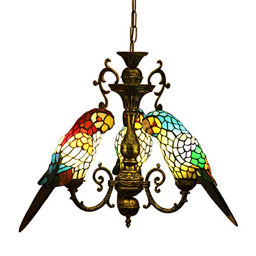 (Makernier Vintage Tiffany Style Stained Glass 3 Arms Parrots Chandelier)