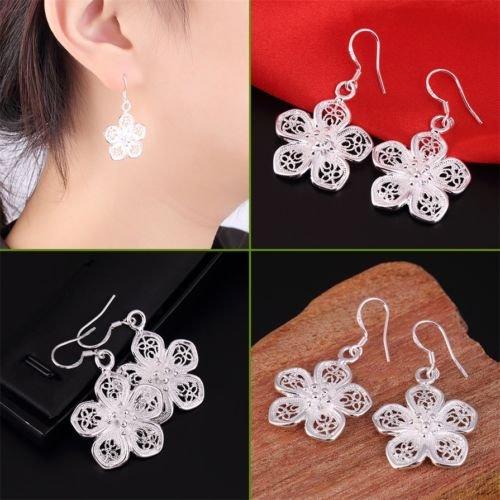 Alicenter(TM) Women 925 Sterling Silver Vintage Flower Dangle Drop Hook Earrings Jewelry