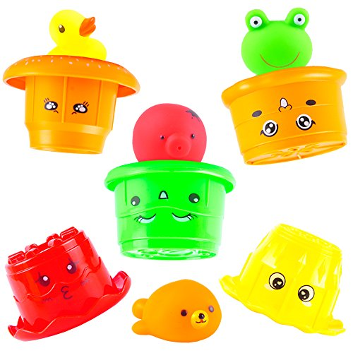 aGreatLife Children Bath Stacking Cups - Hamburger Watering Toy, Best Nesting Cups for Water, Beach and Outdoors ()