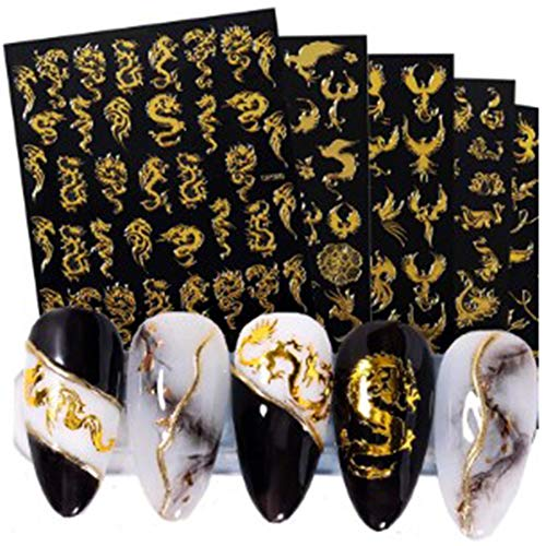 GYDJ Gold 3-d Nail Stickers,5 Sheets Dragon Phoenixs Transfer Stickers,Nail Art DIY Gold Nail Decals, Sticker Sheets Nail Art