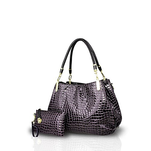 Nicole&Doris New Crocodile Grain PU Leather Women/Ladies Shoulder Bag Handbag Crossbody Totes Large Bag Deep - 7.1 Grains