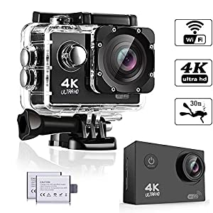 WeyTy Action Camera, 4K Ultra HD Waterproof Camcorder 16MP 170° Degree Wide Angle Lens Wi-Fi Control Sport DV Including 2 Rechargeable Batteries(1350mAh) and Full Accessories Kit, Black