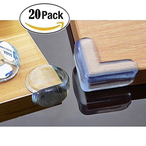 BeRicham 20 Pack Baby Safety Clear Furniture Corner Guards Corner Protector with 3M Adhesive, L-Shaped & Ball-Shaped