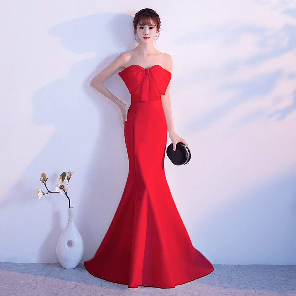 Amazon.com  TY-ER Sweet Bow Wrapped Chest Dress Simple Long Slim Dress Tail  Dress Mermaid Evening Dress  Sports   Outdoors db29f1bf8