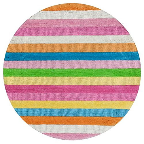 (KAS Oriental Rugs Kidding Around Collection Cool Stripes Round Area Rug, 3')