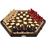 three person chess - Wooden Three Person Player Chess, 11 Inches