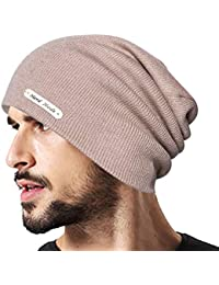 Mens Winter Warm Knitting Hats Wool Baggy Slouchy Beanie Hat Skull Cap