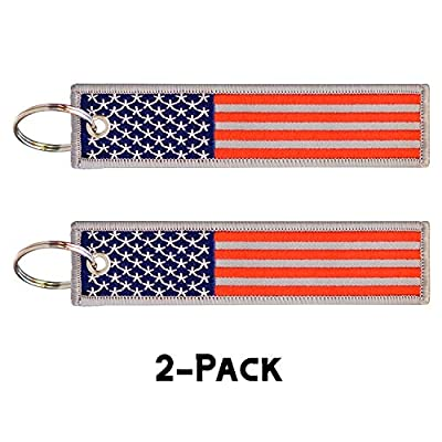 2 Pcs in Set American Flag Keychain Motorcycles, Backpacks, Luggage, and Gifts Key Ring and Carabiner: Car Electronics
