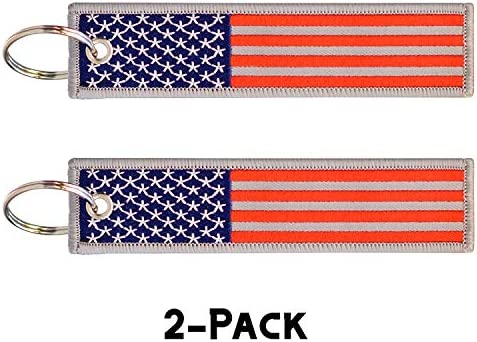 2 Pcs in Set American Flag Keychain Motorcycles Backpacks Luggage and Gifts Key Ring and Carabiner