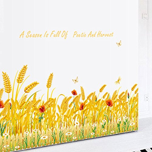 Autumn Harvest Wheat Rose Flowers Wall Sticker - 2