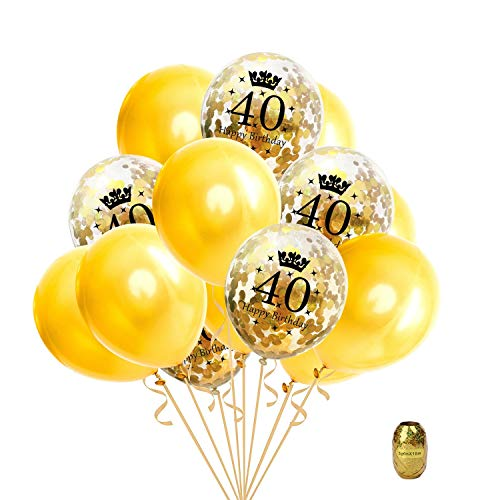 16 Pcs 40th Birthday Party Gold Balloon,Confetti Balloons Latex Balloon Printed with Happy Birthday and Number of 40,12 inch Perfect for Birthdays Party,1 Pack Random Color String