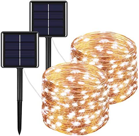 IDEAALS Outdoor Solar String Lights 2 Pack, 66ft 200LED Each , Upgraded Solar Fairy Lights 8 Modes Waterproof Copper Wire Solar Lights Outdoor for Garden Patio Yard Tree Cool White