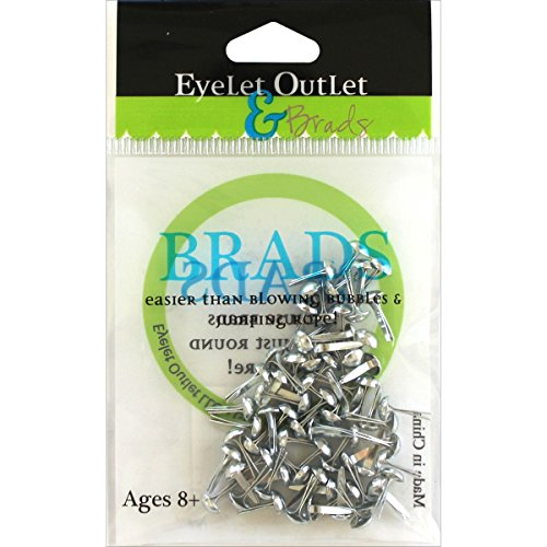 EYELET OUTLET Round Brads (70 Pack), 4mm, Silver