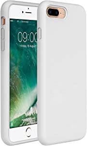 Miracase iPhone 8 Plus Silicone Case, iPhone 7 Plus Silicone Case Silicone Gel Rubber Full Body Protection Shockproof Cover Case Drop Protection for Apple iPhone 7 Plus/iPhone 8 Plus -Creamy White