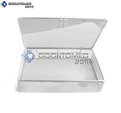 """OdontoMed2011® INSTRUMENT TRAY AND MESH PERFORATED BASKETS STERILIZATION TRAY 9"""" X 6.25"""" X 1.5"""" WITH LID STAINLESS STEEL, OD2011-DN-313"""