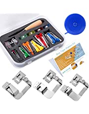 5 Sizes Bias Tape Tool Kit with Instruction, Bias Tape Maker (6mm 9mm 12mm 18mm 25mm) with 4 Pcs Sewing Machine Presser Foot, Ball Point Pins, Sewing Clips, Awl, for Fabric Sewing and Quilting
