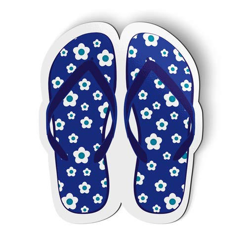 AK Wall Art Cute Blue Floral Flip Flops Summer - Magnet - Car Fridge Locker - Select Size