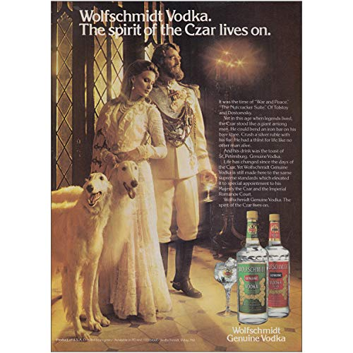 - RelicPaper 1979 Wolfschmidt Vodka:Spirit of The Czar Lives On, War Peace, Wolfschmidt Vodka Print Ad