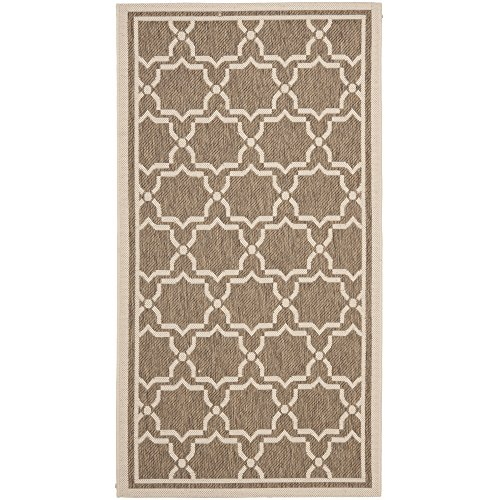 (Safavieh Courtyard Collection CY6916-242 Brown and Bone Indoor/ Outdoor Area Rug (4' x 5'7