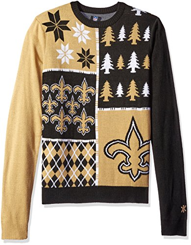 NFL New Orleans Saints Ugly Sweater, Busy Block Pattern, Large