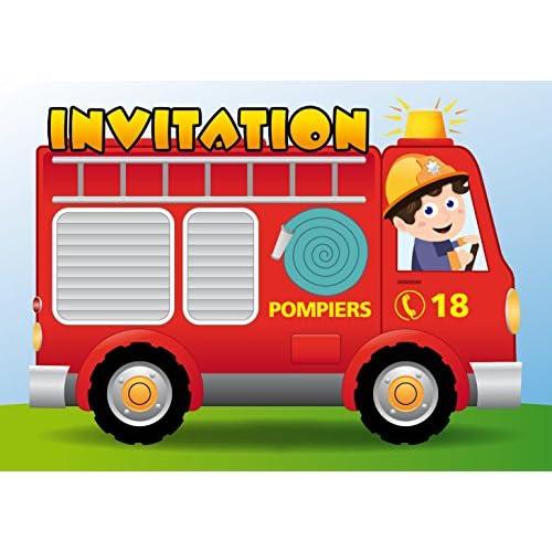 """Lot de 12 Cartes d'invitation """"CAMION DE POMPIERS"""" en Français pour un anniversaire d'enfant ou pour une fête de pompiers des EDITION COLIBRI (10982 FR)"""