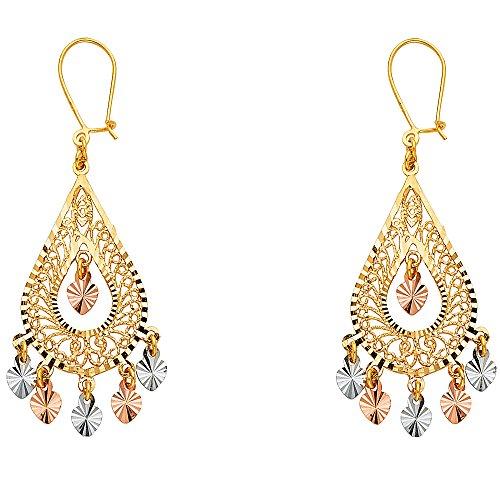 14k Yellow White Rose Gold Chandelier Teardrop Earrings Hanging Hearts Diamond Cut Fancy 41 x 17 mm ()