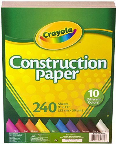 Crayola Construction Paper, 480 Count, 2-Packs of 240 Each, 10 Different Colors