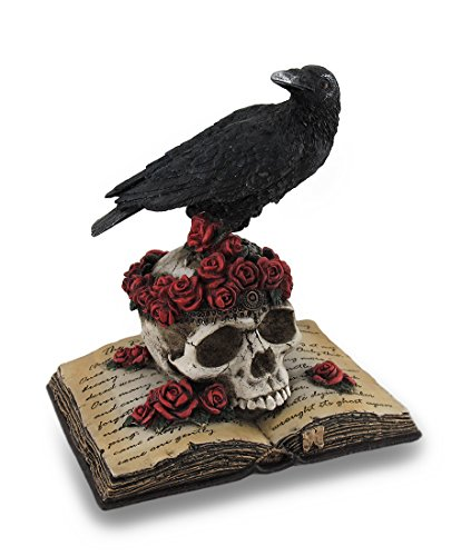 Veronese Perched Raven On Rose Skull and Open Poetry Book Statue
