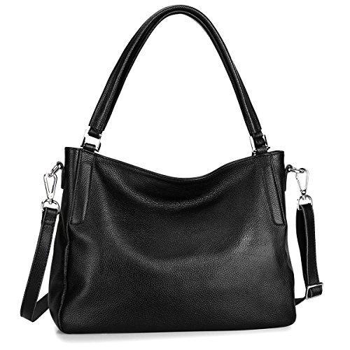 S-ZONE Women's Genuine Leather Handbags Top-handle Medium Tote Satchel Hobo Bag Crossbody - Medium Leather Hobo Handbag