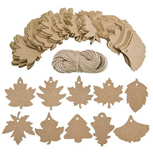 Livder 200 Pieces Leaves Gift Tags, Favor Thank You Cards Blank Kraft Paper Gift Sign Labels with Natural Jute Twine ()